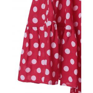 Cold Shoulder Polka Dot Imprimer Mini-robe - Rose et Blanc L