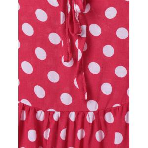 Cold Shoulder Polka Dot Print Mini Dress - PINK/WHITE XL