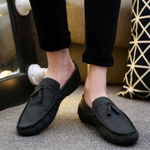 Simple Style Stitching and Tassels Design Casual Shoes For Men - BLACK 43