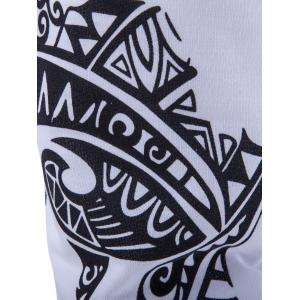 Abstract Printed Solid Color Lace-Up Shorts For Men - WHITE 2XL