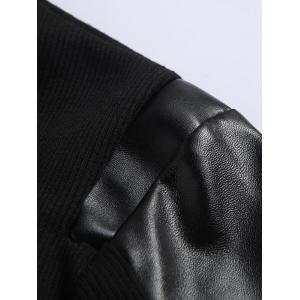 Ribbed Faux Leather Spliced Long Sleeve T-Shirt For Men - BLACK XL