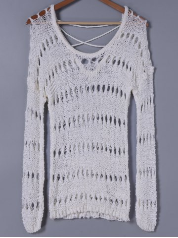 New Stylish Scoop Neck Hollow Out Long Sleeves Knitwear For Women