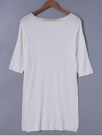 Shop Casual Round Neck Solid Color 3/4 Sleeve Dress For Women