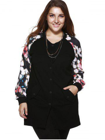 Cheap Plus Size Chic Floral Print Long Jacket