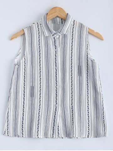 Affordable Preppy Style Sleeveless Striped Shirt For Women