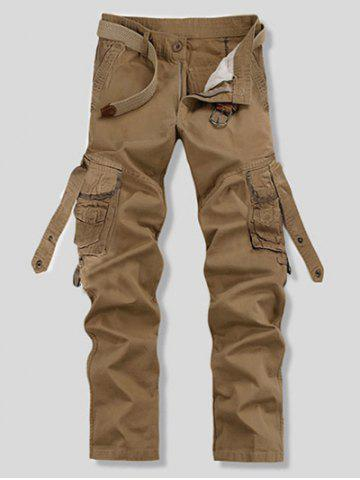 Hot Loose Fit Trendy Solid Color Multi-Pocket Straight Leg Men's Cotton Blend Cargo Pants - 28 KHAKI Mobile