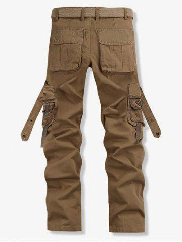 Online Loose Fit Trendy Solid Color Multi-Pocket Straight Leg Men's Cotton Blend Cargo Pants - 28 KHAKI Mobile