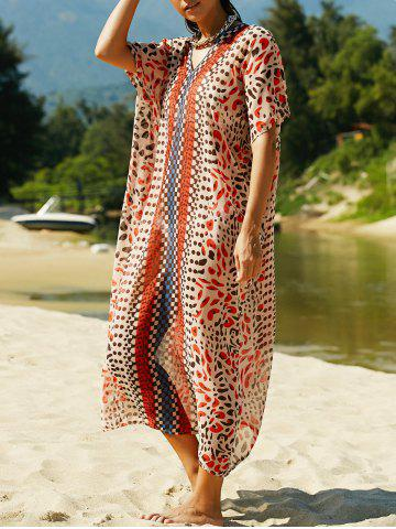 Cheap Stylish V Neck Print Women's Cover Up Maxi Dress