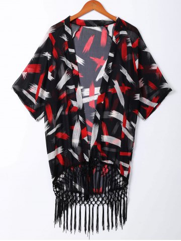 Affordable Fashionable Print Fringe Short Sleeves Kimono For Women