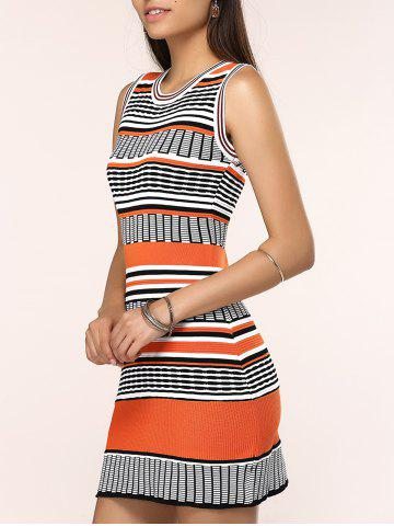 Store Round Neck Colorful Striped Skinny Dress