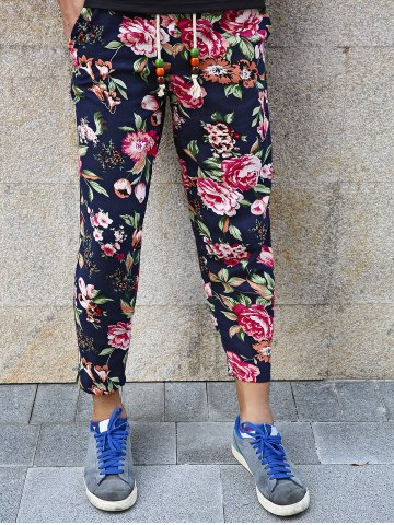 Hot Lace-Up Flowers Print Nine Minutes of Pants For Men