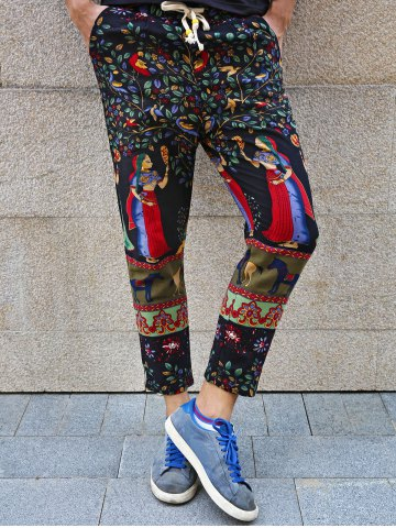 Fancy Lace-Up Ethnic Leaves and Figure Print Nine Minutes of Pants For Men