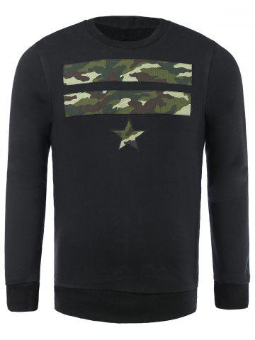 Chic Camo Star Patch Pullover Sweatshirt For Men