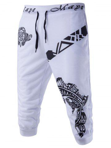 Fancy Abstract Printed Solid Color Lace-Up Shorts For Men - M WHITE Mobile
