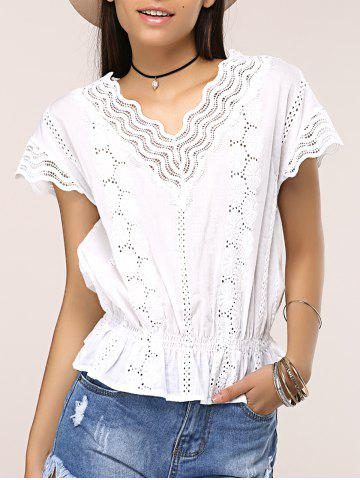 Best Openwork Wave Cut Frilled Blouse