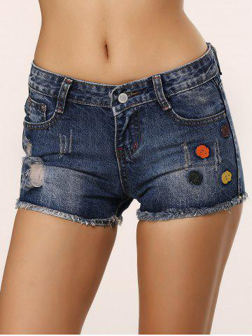 Shop Cute Icons Embellished Ripped Shorts