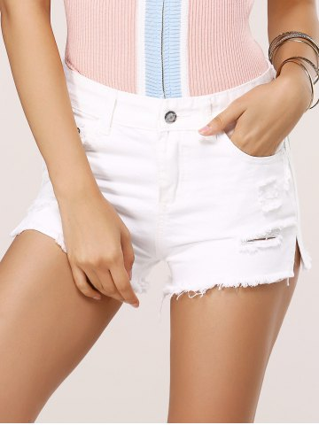 Affordable Ripped Row Edged Pure Color Shorts