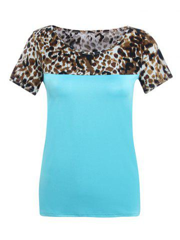 Affordable Round Neck Short Sleeve Spliced Leopard Print T-Shirt
