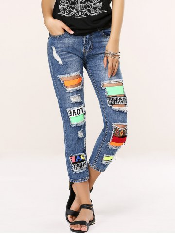 Discount Stylish Colorful Icon Spliced Destroyed Jeans