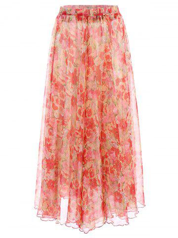 Hot Trendy Elastic Waist Flower Pattern Chiffon Skirt For Women