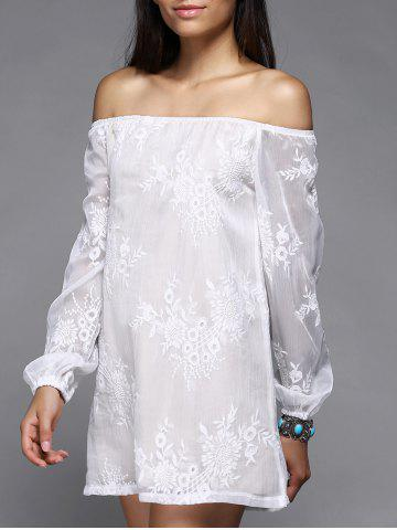 Unique Off The Shoulder Puff Sleeve Embroidered Shift Wedding Dress WHITE M