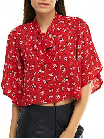 Shops Chic Women's Floral Print Bow Tie Collar Chiffon Blouse