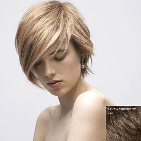 Chic Graceful Women's Short Straight Side Bang Human Hair Wig