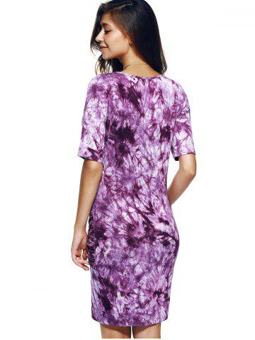 Sale Fashionable Round Collar Short Sleeve T-shirt Dress - S WHITE AND PURPLE Mobile