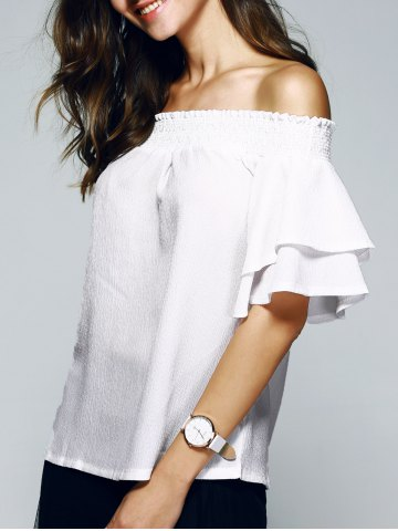 Buy Nice Off The Shoulder Ruffle Sleeve PureColor Blouse