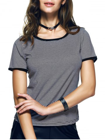 Unique Ringe Pinstripe Print Slimming-Fitted T-Shirt