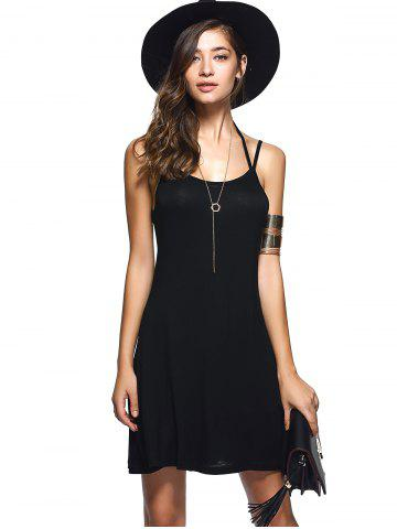 Discount Spaghetti Strap Backless Casual Short Summer Dress - L BLACK Mobile