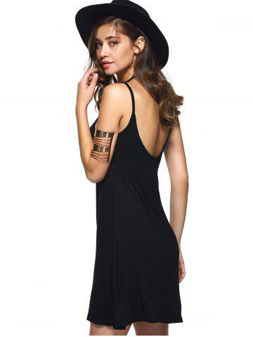 Fashion Spaghetti Strap Backless Casual Short Summer Dress - M BLACK Mobile