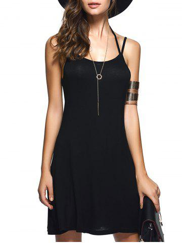 Shop Spaghetti Strap Backless Casual Short Summer Dress - S BLACK Mobile