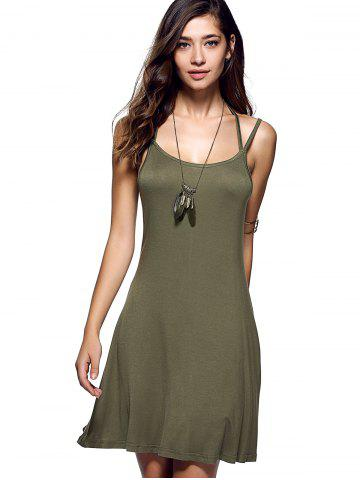 Fashion Spaghetti Strap Backless Casual Short Summer Dress - XL ARMY GREEN Mobile