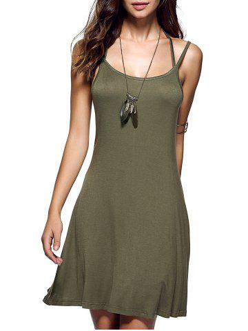 Spaghetti Strap Pure Color Backless Dress Vert Armée XL