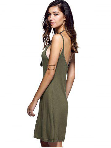 Trendy Spaghetti Strap Backless Casual Short Summer Dress - L ARMY GREEN Mobile