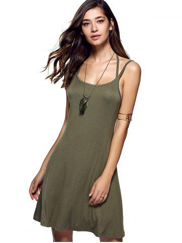Trendy Spaghetti Strap Backless Casual Short Summer Dress - S ARMY GREEN Mobile