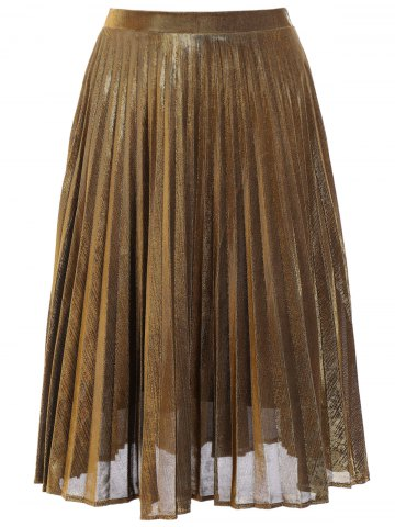 New Metallic Pleated Midi Skirt