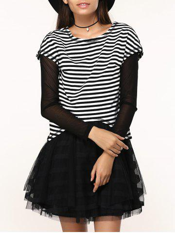 Unique Chic Black Layered Dress + Short Sleeve Striped T-Shirt Women's Twinset