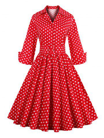 Outfit Vintage 3/4 Sleeve Button Design Polka Dot Women's Dress RED 4XL