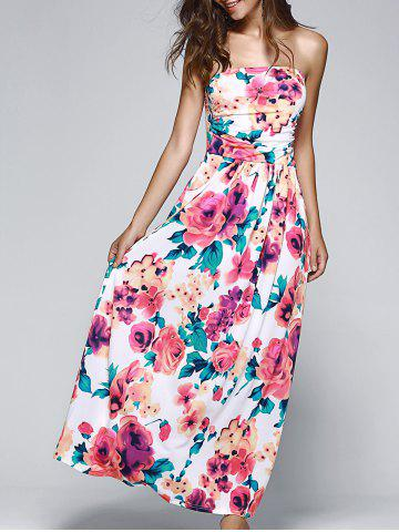 Shops Strapless Floral Printed Maxi Dress