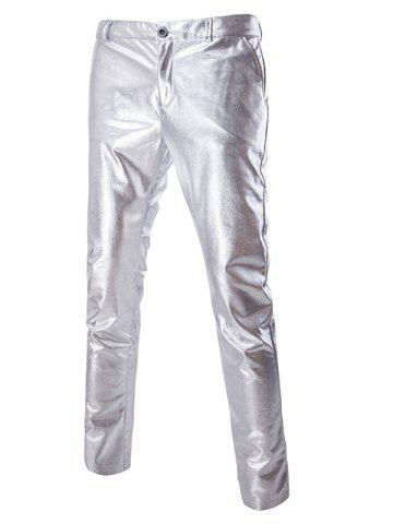 Outfits Zipper Fly Solid Color Metallic Pants For Men SILVER 2XL