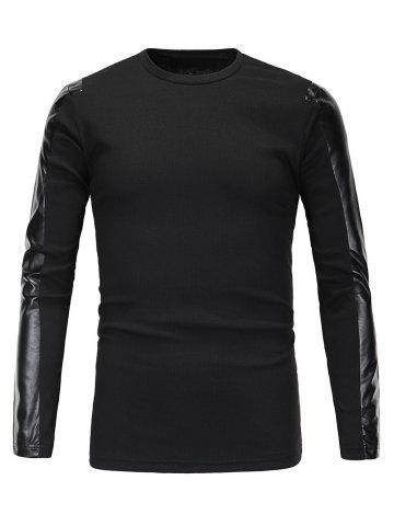 Trendy Ribbed Faux Leather Spliced Long Sleeve T-Shirt For Men BLACK XL