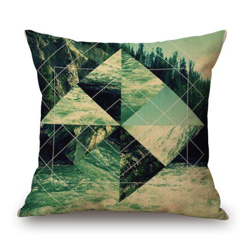 Affordable Graceful Visual Landscape River Tree Geometry Design sofa Pillow Case