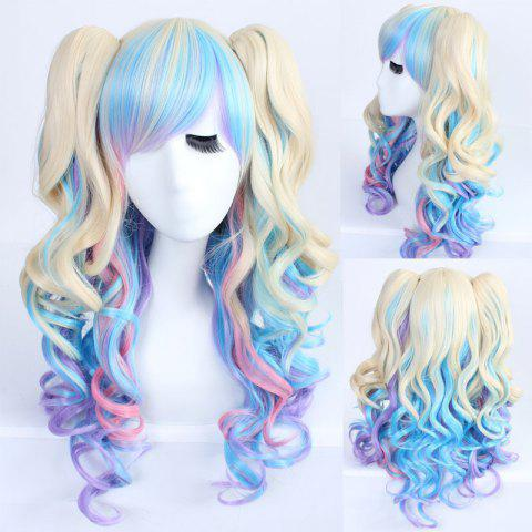 Unique Faddish Mixed Color Long Wavy Side Bang with Bunches Lolita Synthetic Wig