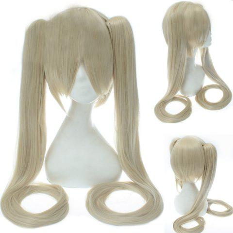 Store Stylish Synthetic Rice White Long Straight with Bunches Twintail Hatsune Miku Cosplay Wig