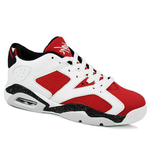 Buy Fashion Breathable Tie Design Athletic Shoes Men - Red 43