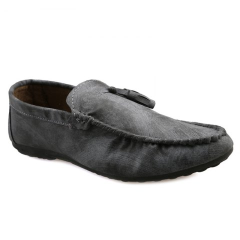 Online Simple Style Stitching and Tassels Design Casual Shoes For Men GRAY 44