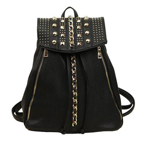Sale Stylish Black and Chains Design Backpack For Women
