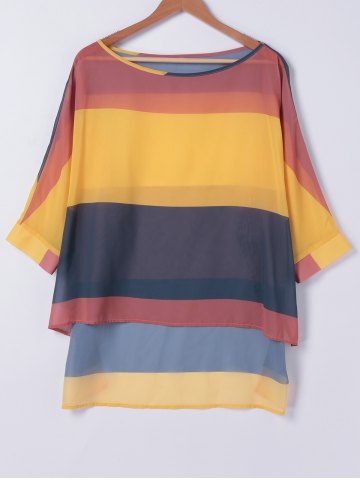 Outfit Casual Color Block High Low Loose Fitting T-Shirt